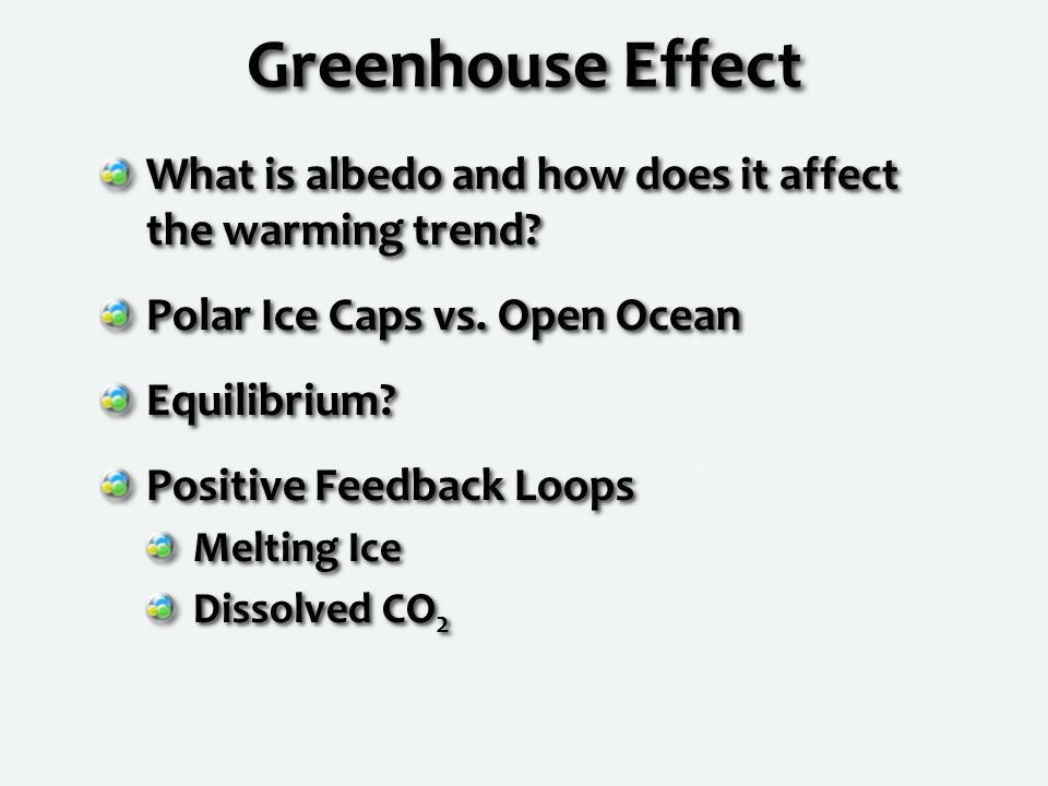 Greenhouse Effect What is albedo and how does it affect the warming trend.