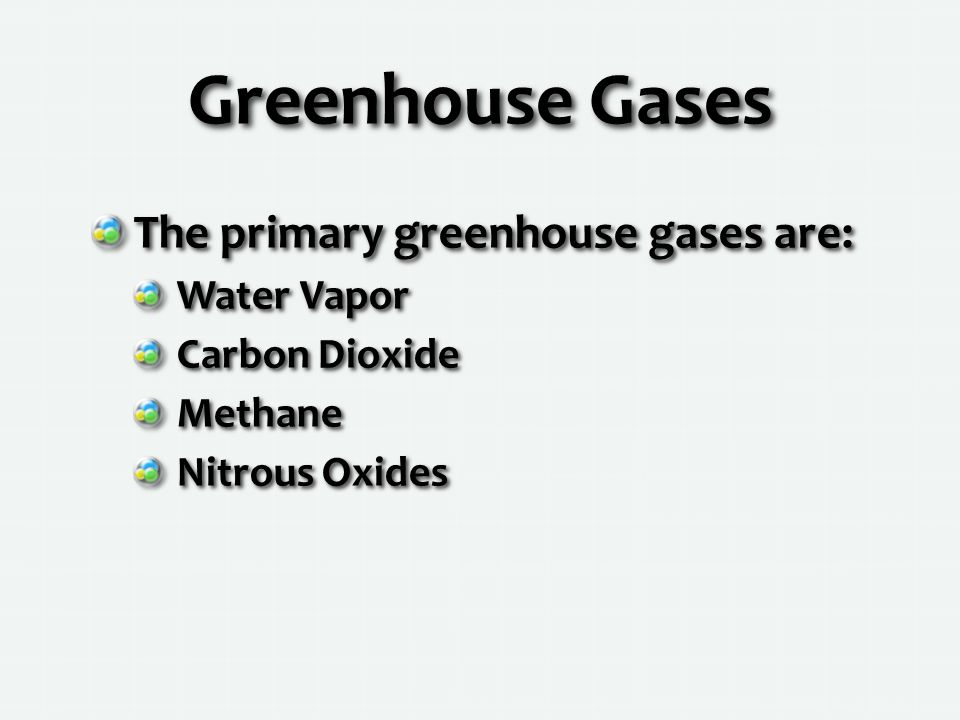 Greenhouse Gases The primary greenhouse gases are: Water Vapor Carbon Dioxide Methane Nitrous Oxides