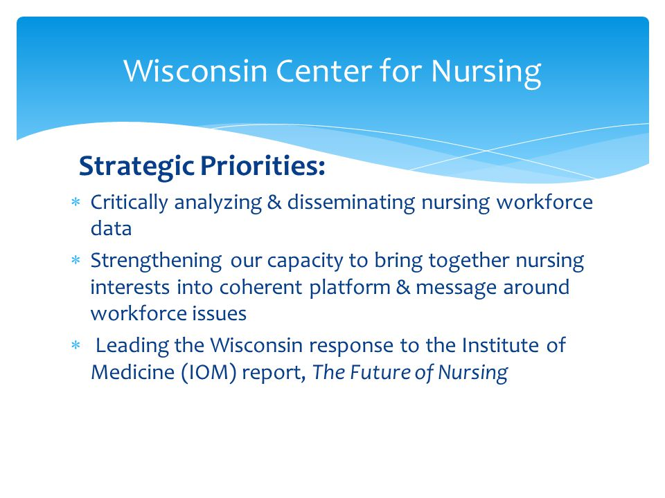 Strategic Priorities:  Critically analyzing & disseminating nursing workforce data  Strengthening our capacity to bring together nursing interests into coherent platform & message around workforce issues  Leading the Wisconsin response to the Institute of Medicine (IOM) report, The Future of Nursing Wisconsin Center for Nursing