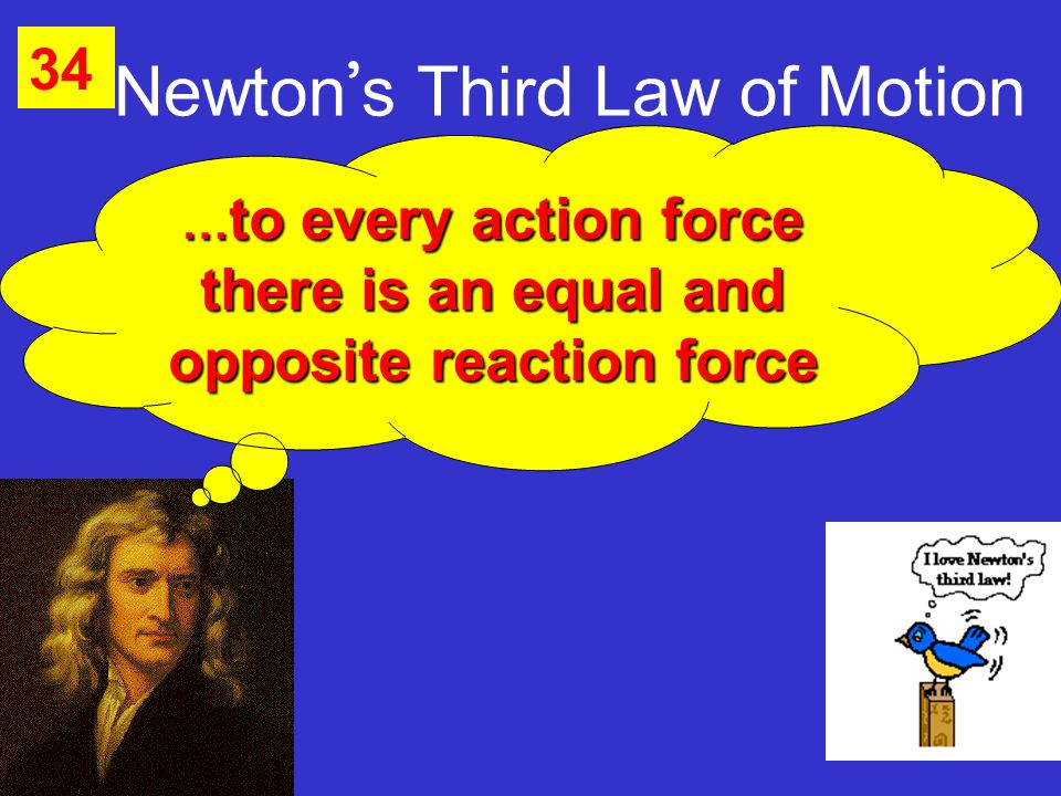 Newton ' s Third Law of Motion 34 … to every action force there is an equal and opposite reaction force