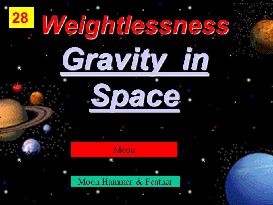 Weightlessness Gravity in Gravity in Space 28 Moon Moon Hammer & Feather