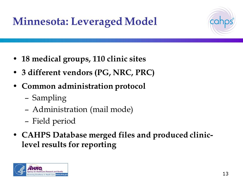 13 Minnesota: Leveraged Model 18 medical groups, 110 clinic sites 3 different vendors (PG, NRC, PRC) Common administration protocol –Sampling –Administration (mail mode) –Field period CAHPS Database merged files and produced clinic- level results for reporting