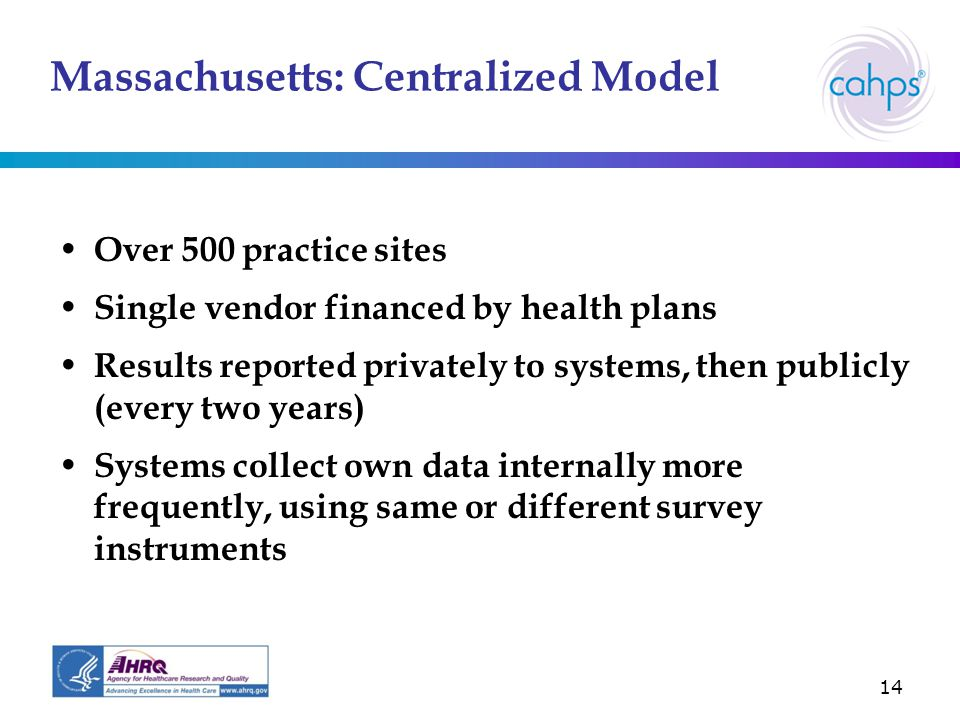 14 Massachusetts: Centralized Model Over 500 practice sites Single vendor financed by health plans Results reported privately to systems, then publicly (every two years) Systems collect own data internally more frequently, using same or different survey instruments