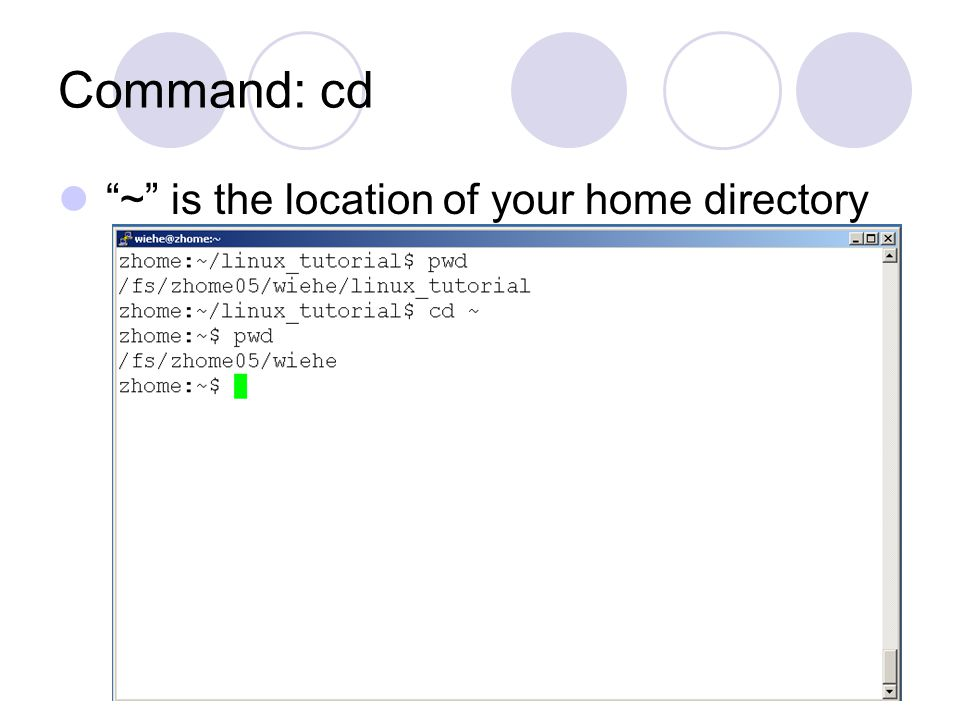 Command: cd ~ is the location of your home directory