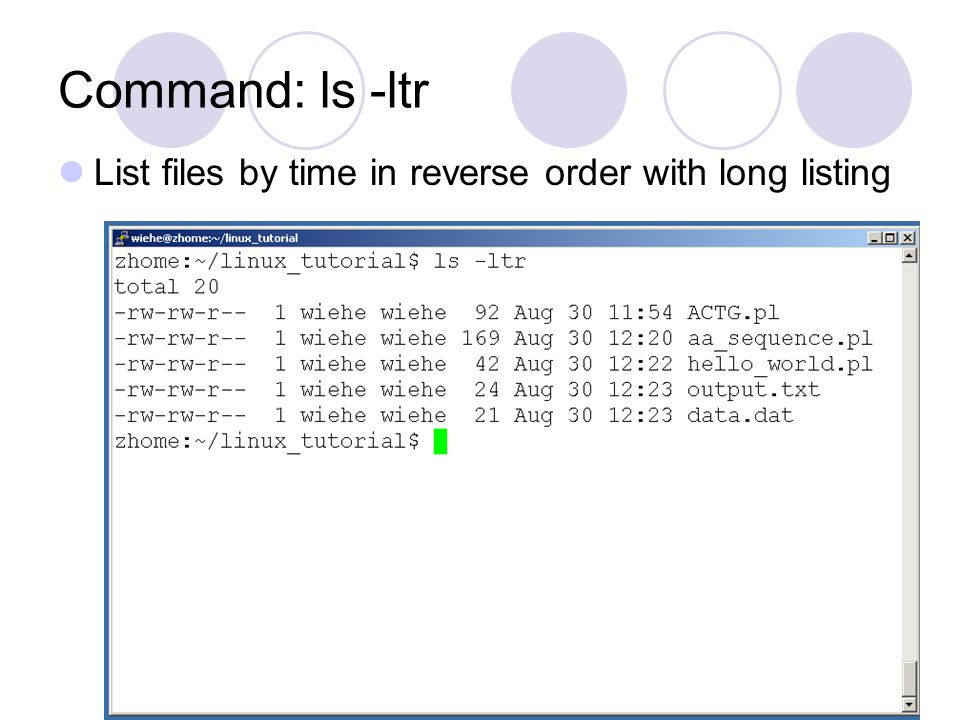 Command: ls -ltr List files by time in reverse order with long listing