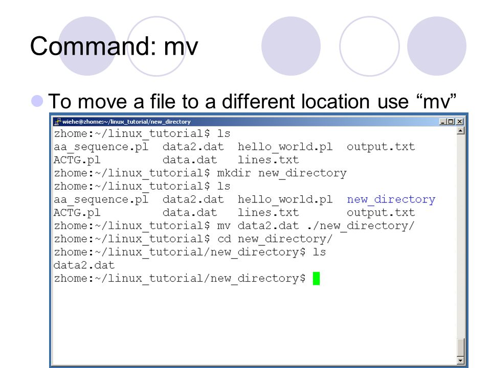 Command: mv To move a file to a different location use mv