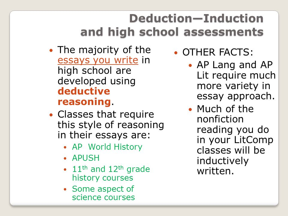 deductive and inductive writing two traditional means of  deduction induction and high school assessments the majority of the essays you write in high