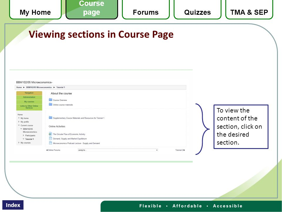 To view the content of the section, click on the desired section.