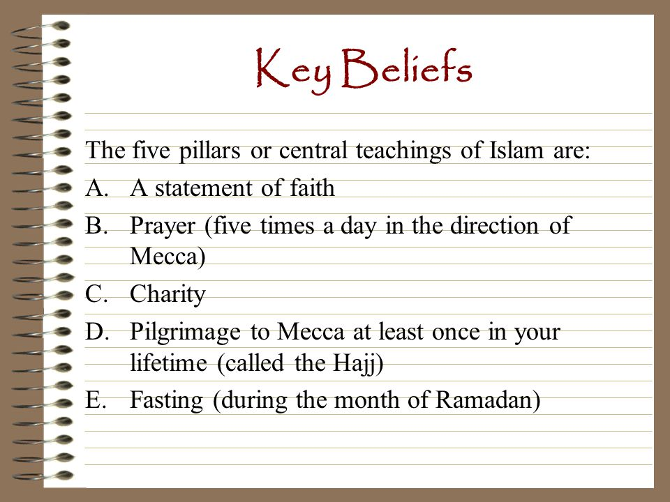 Key Beliefs 4. Make a hajj to Mecca. A hajj is a pilgrimage (trip). 5. Fast during Ramadan.