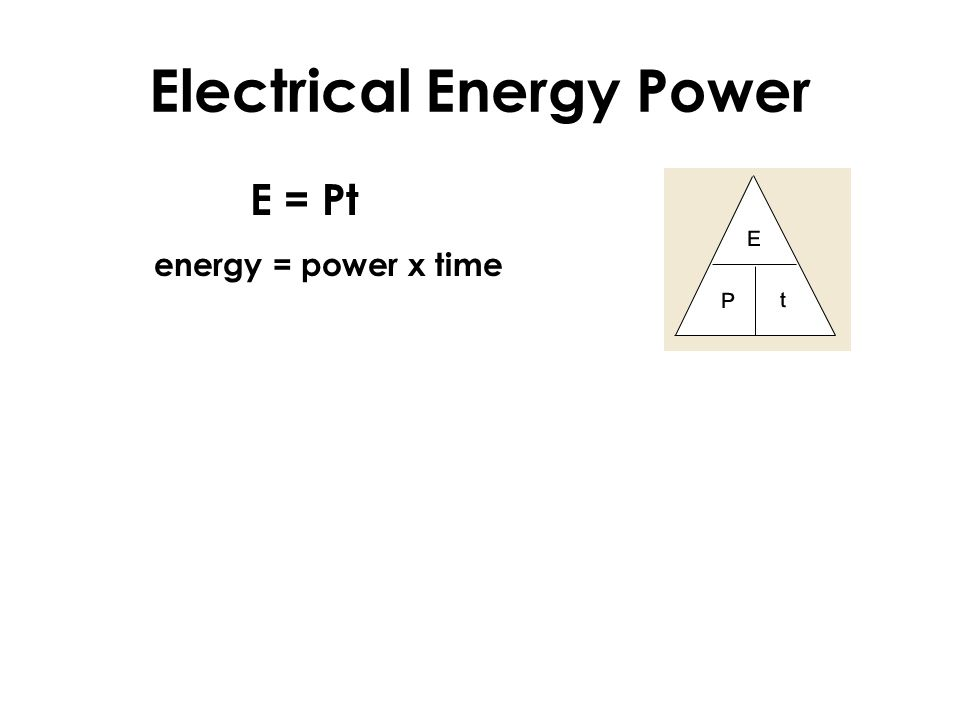 Electrical Energy Power E = Pt energy = power x time