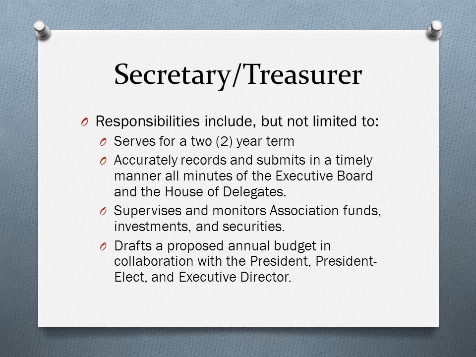 Secretary/Treasurer O Responsibilities include, but not limited to: O Serves for a two (2) year term O Accurately records and submits in a timely manner all minutes of the Executive Board and the House of Delegates.