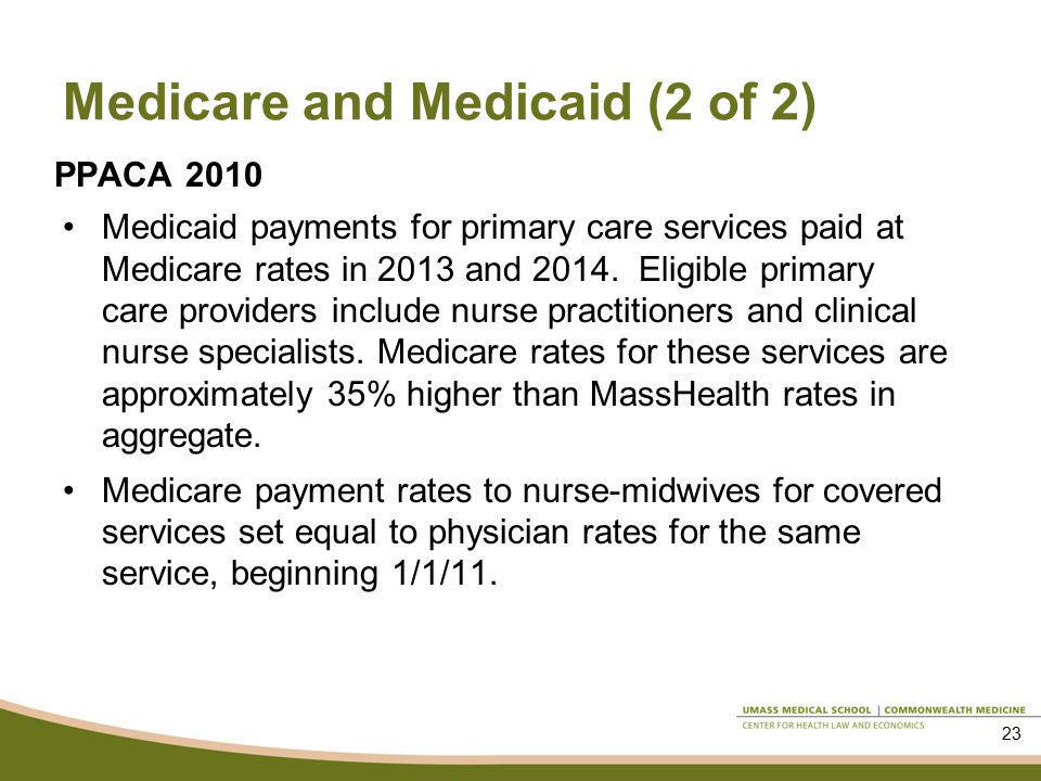 Medicare and Medicaid (2 of 2) PPACA 2010 Medicaid payments for primary care services paid at Medicare rates in 2013 and 2014.