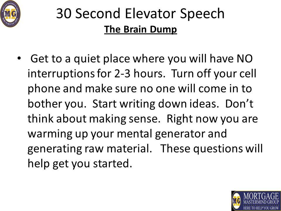 How to write a 30 second elevator speech