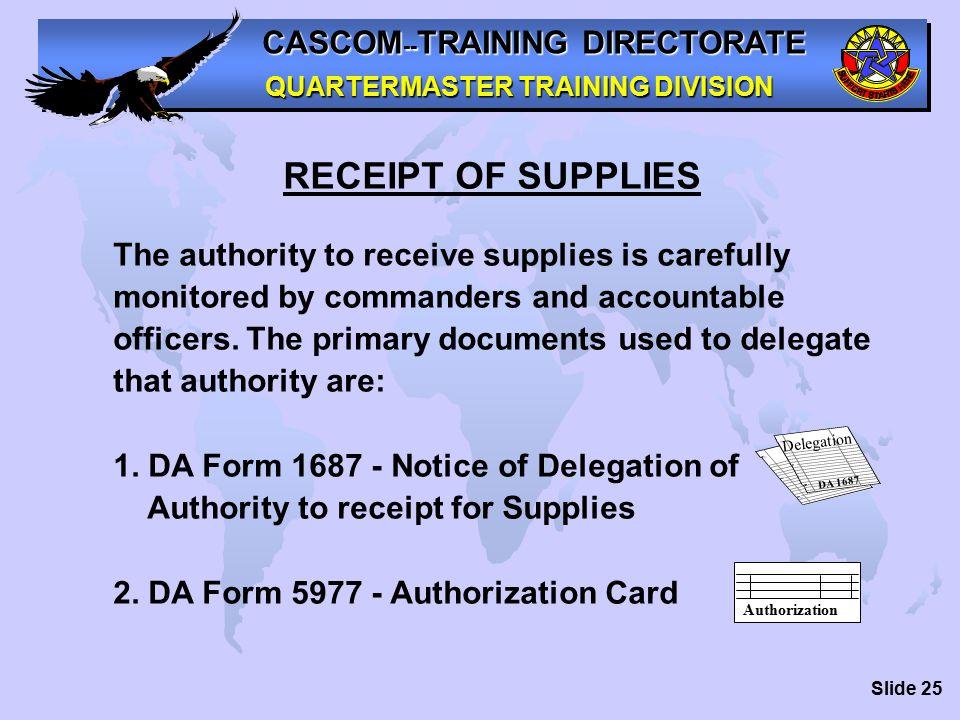 CASCOM -- TRAINING DIRECTORATE QUARTERMASTER TRAINING DIVISION ...