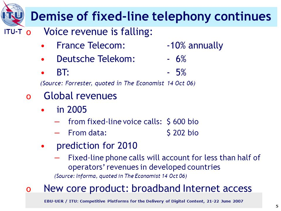 ITU-T EBU-UER / ITU: Competitive Platforms for the Delivery of Digital Content, June Demise of fixed-line telephony continues o Voice revenue is falling: France Telecom:-10% annually Deutsche Telekom: - 6% BT:- 5% (Source: Forrester, quoted in The Economist 14 Oct 06) o Global revenues in 2005 —from fixed-line voice calls: $ 600 bio —From data:$ 202 bio prediction for 2010 —Fixed-line phone calls will account for less than half of operators' revenues in developed countries (Source: Informa, quoted in The Economist 14 Oct 06) o New core product: broadband Internet access