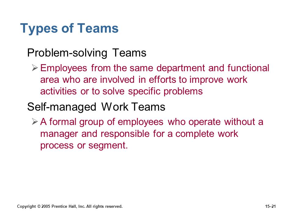 Copyright © 2005 Prentice Hall, Inc. All rights reserved.15–21 Types of Teams Problem-solving Teams  Employees from the same department and functiona