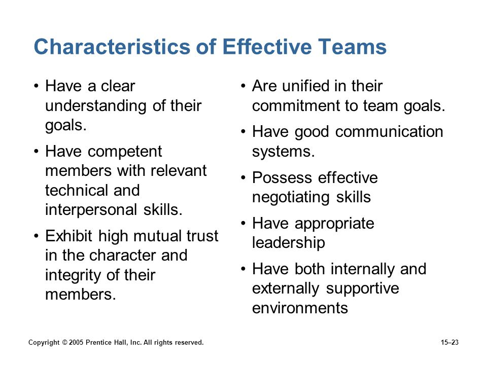 Copyright © 2005 Prentice Hall, Inc. All rights reserved.15–23 Characteristics of Effective Teams Have a clear understanding of their goals. Have comp