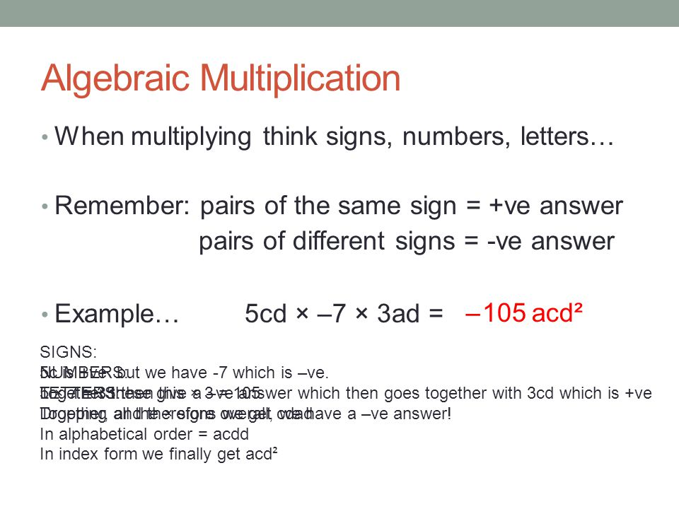 Algebraic Multiplication When Multiplying Think Signs Numbers Letters Remember Pairs Of The