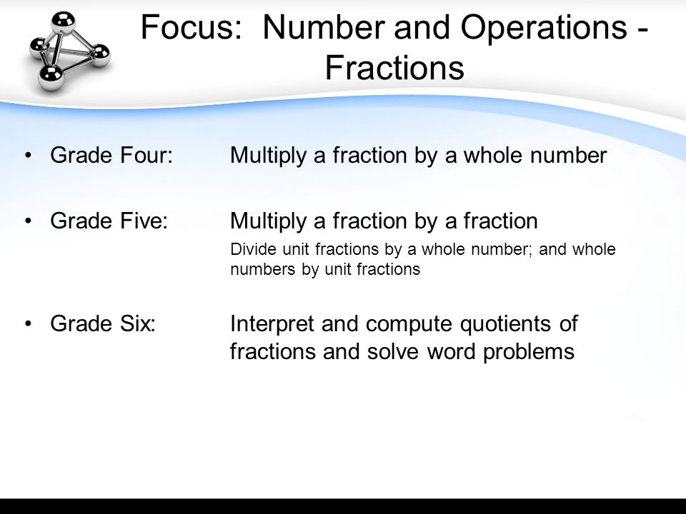 Focus: Number and Operations - Fractions Grade Four: Multiply a fraction by a whole number Grade Five:Multiply a fraction by a fraction Divide unit fractions by a whole number; and whole numbers by unit fractions Grade Six:Interpret and compute quotients of fractions and solve word problems