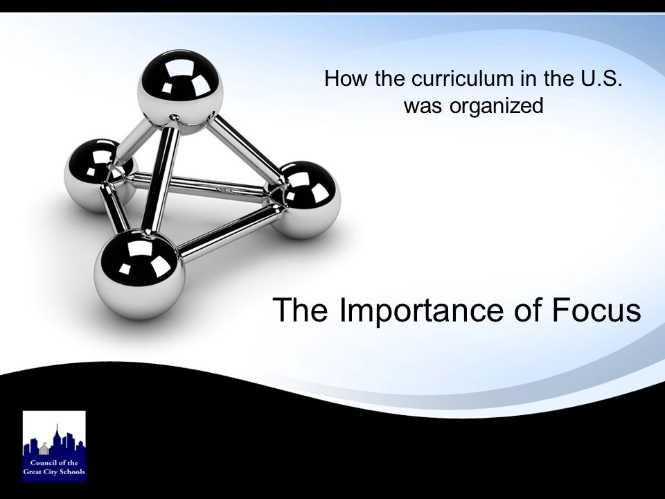 The Importance of Focus How the curriculum in the U.S. was organized