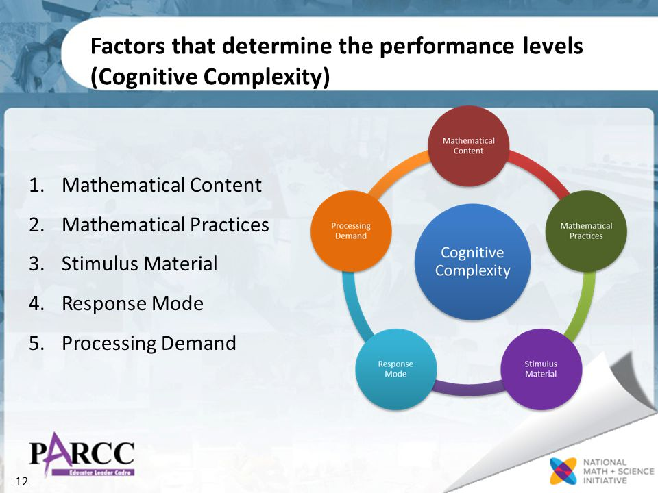 12 Factors that determine the performance levels (Cognitive Complexity) 1.Mathematical Content 2.Mathematical Practices 3.Stimulus Material 4.Response Mode 5.Processing Demand
