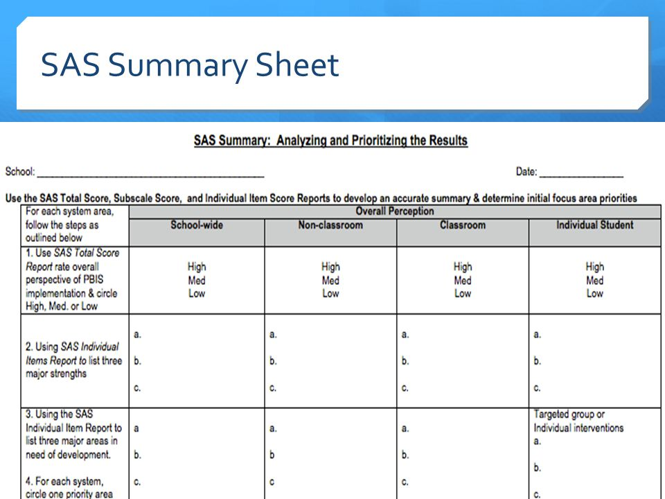 SAS Summary Sheet 11