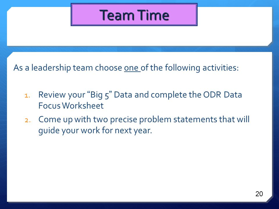As a leadership team choose one of the following activities: 1.