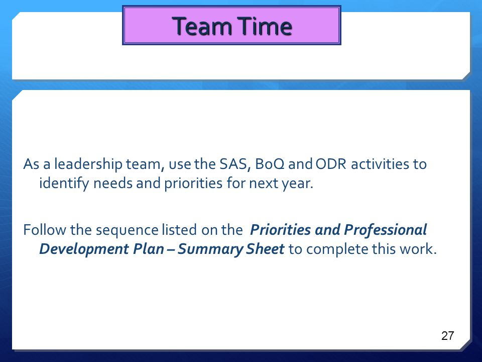 As a leadership team, use the SAS, BoQ and ODR activities to identify needs and priorities for next year.