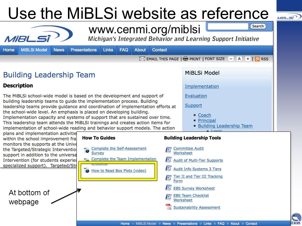 Use the MiBLSi website as reference   At bottom of webpage