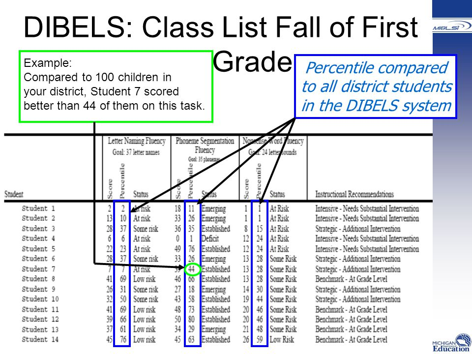 Percentile compared to all district students in the DIBELS system DIBELS: Class List Fall of First Grade Example: Compared to 100 children in your district, Student 7 scored better than 44 of them on this task.