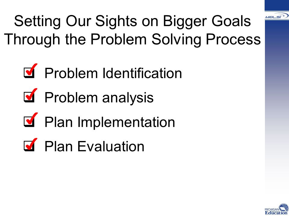 Setting Our Sights on Bigger Goals Through the Problem Solving Process  Problem Identification  Problem analysis  Plan Implementation  Plan Evaluation ✔ ✔ ✔ ✔