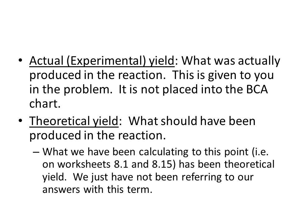 Unit 8: Percent Yield Calculations. Formula for Percent Yield ...