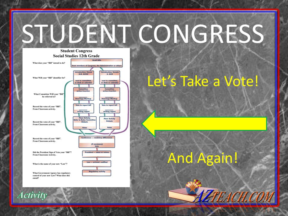 STUDENT CONGRESS Let's Take a Vote! And Again!