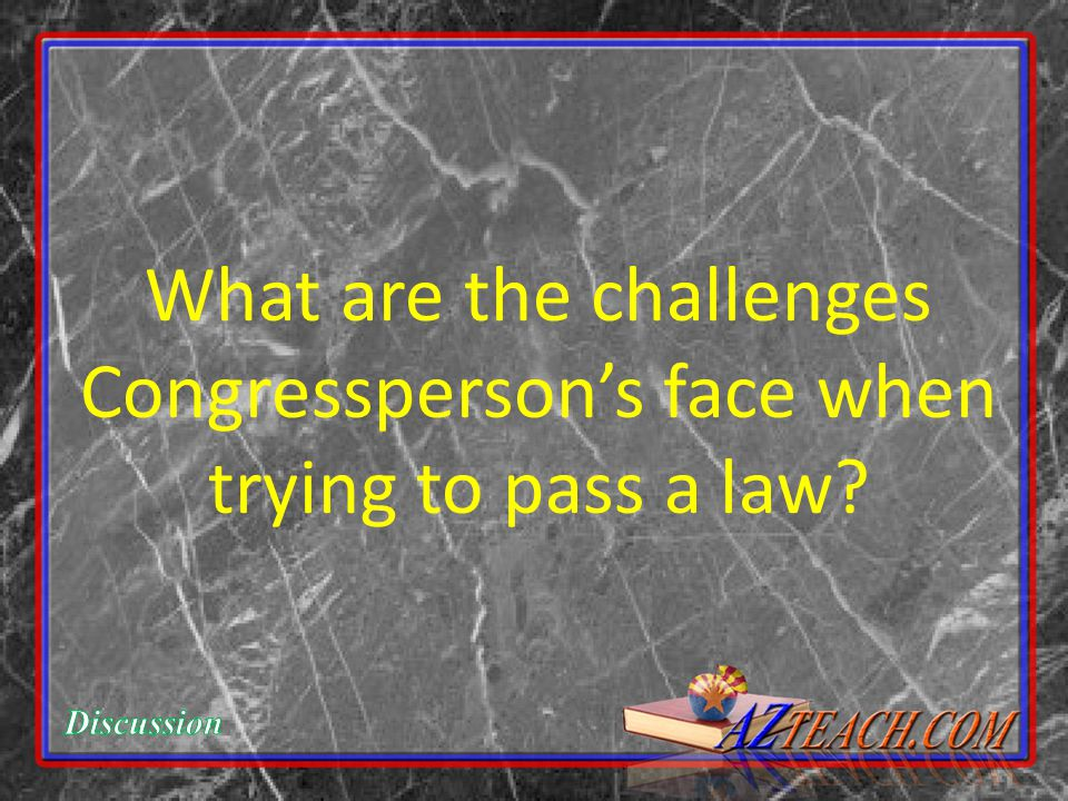 What are the challenges Congressperson's face when trying to pass a law