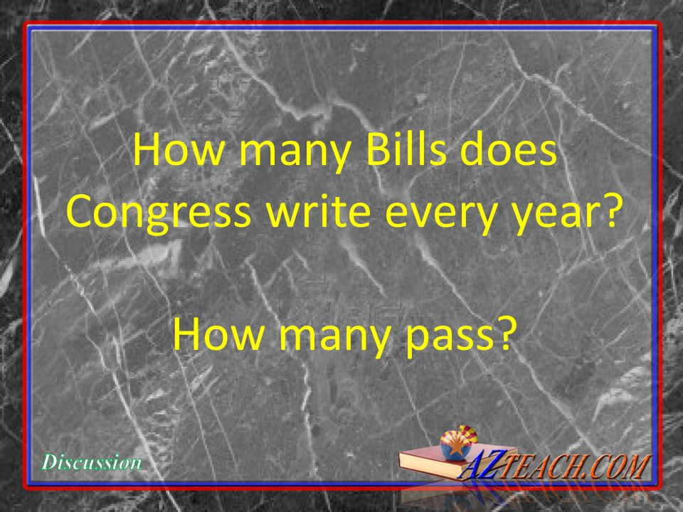 How many Bills does Congress write every year How many pass