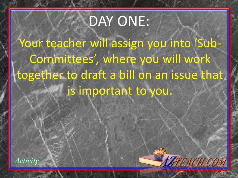 Your teacher will assign you into 'Sub- Committees', where you will work together to draft a bill on an issue that is important to you.