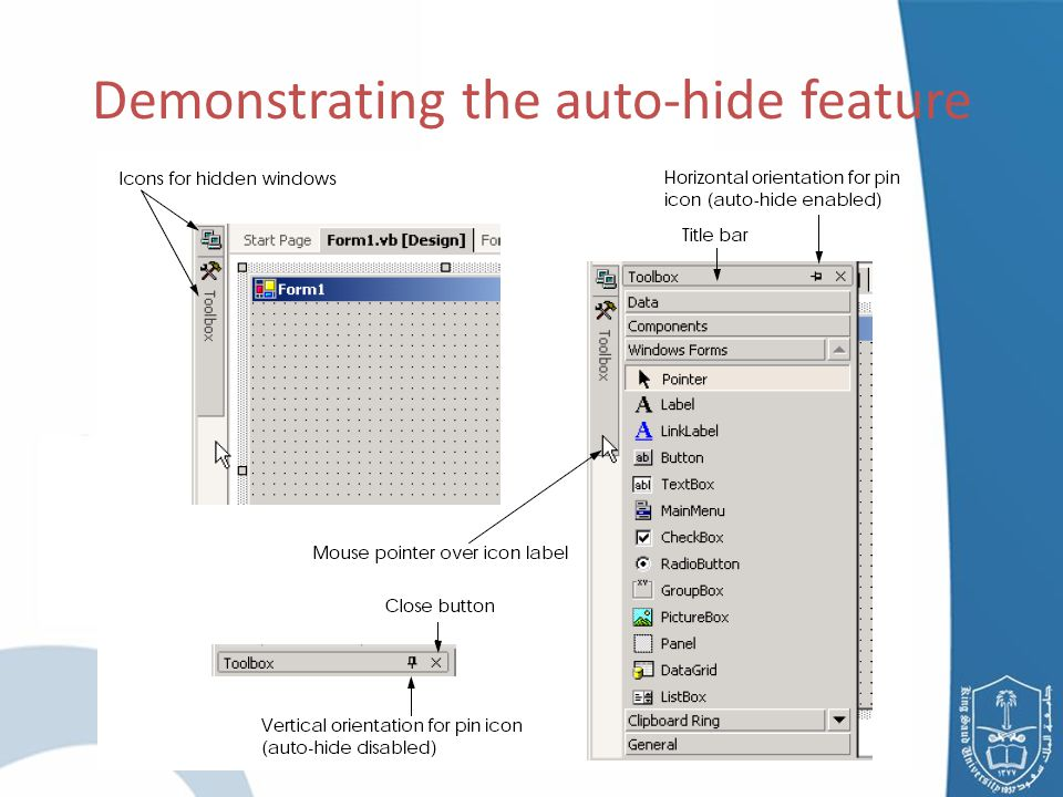 Demonstrating the auto-hide feature