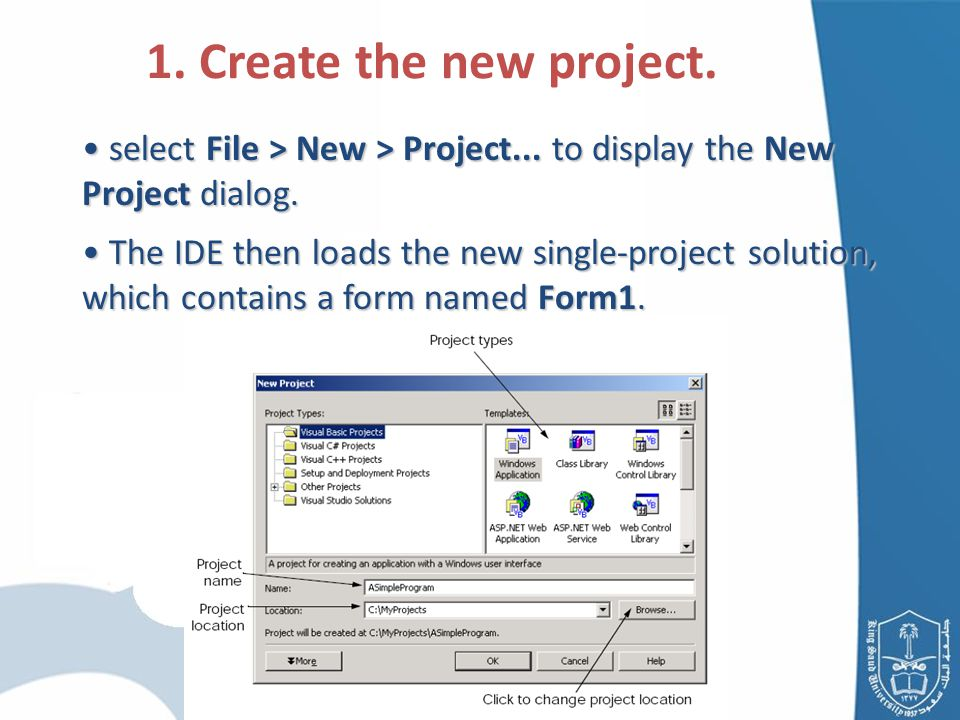 select File > New > Project... to display the New Project dialog.