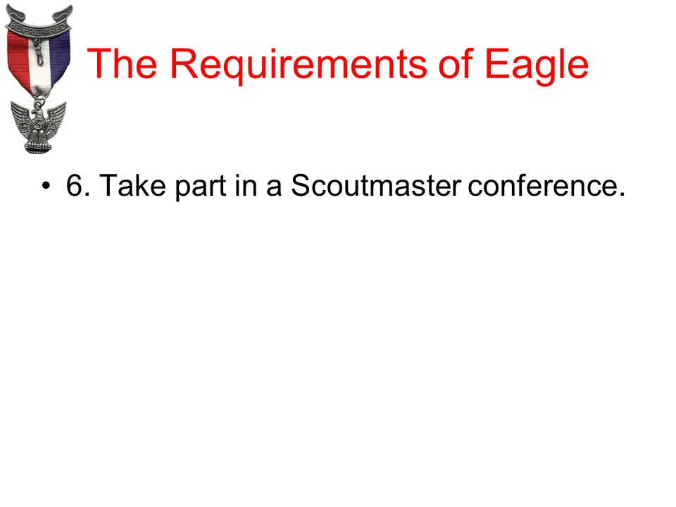 The Requirements of Eagle 6. Take part in a Scoutmaster conference.