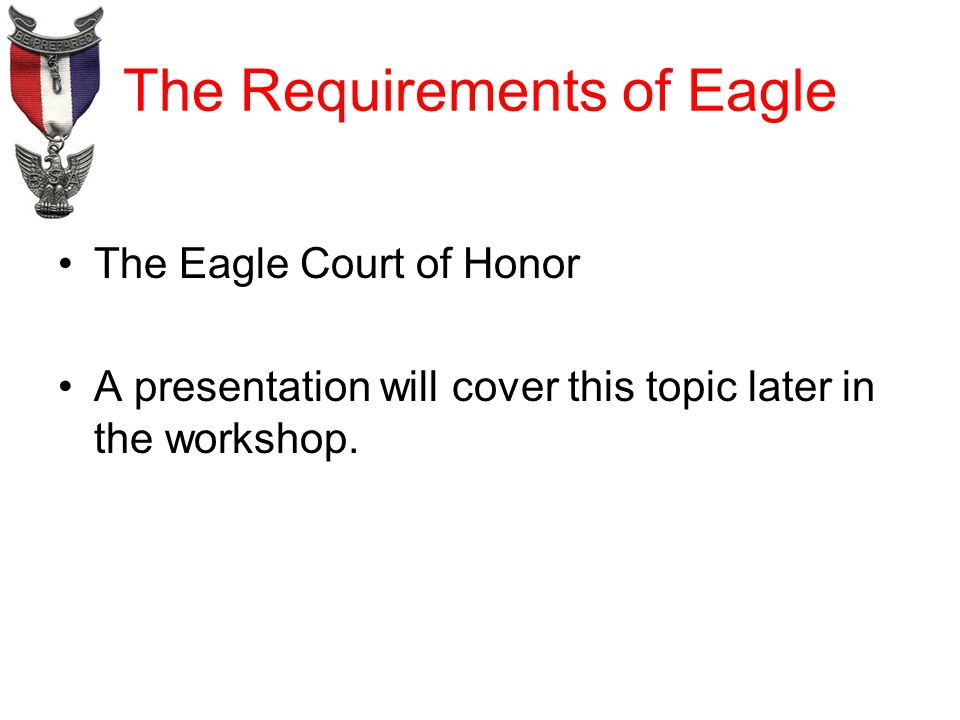 The Requirements of Eagle The Eagle Court of Honor A presentation will cover this topic later in the workshop.