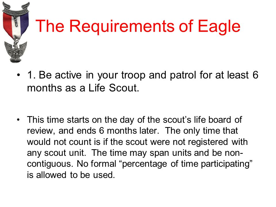 The Requirements of Eagle 1.