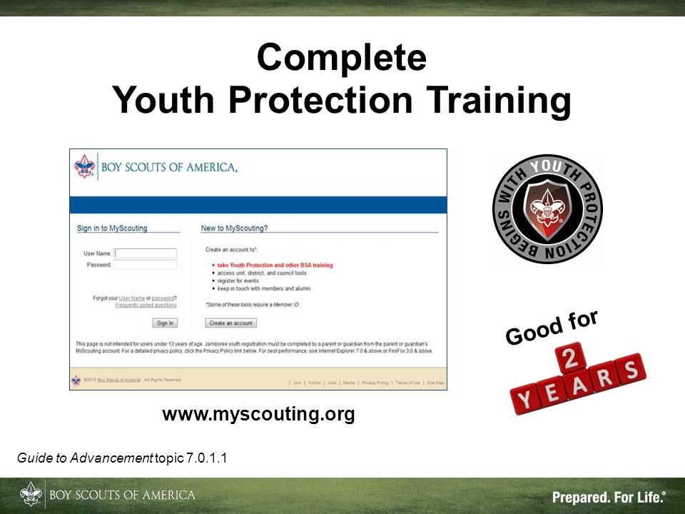 Complete Youth Protection Training Good for   Guide to Advancement topic