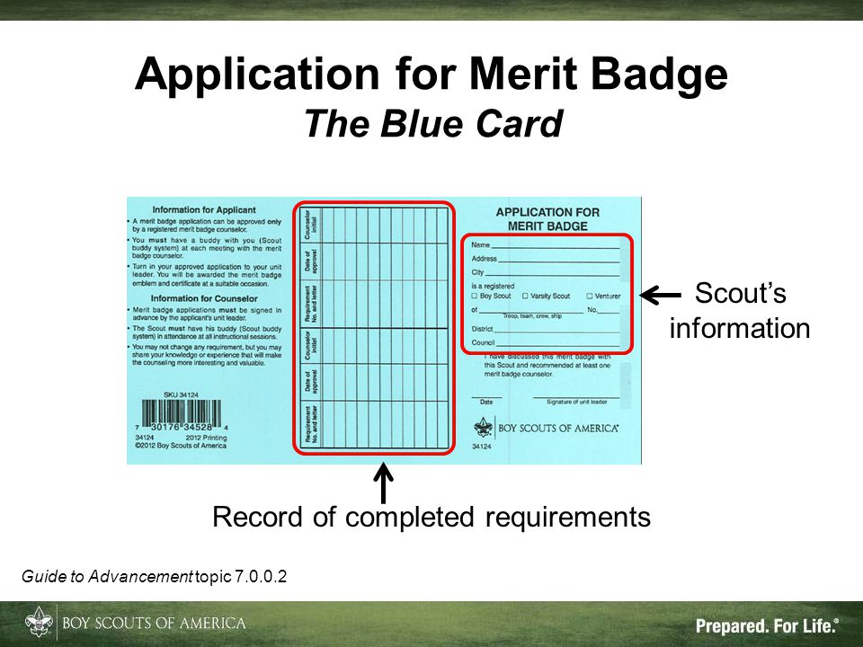 Application for Merit Badge The Blue Card Record of completed requirements Scout's information Guide to Advancement topic