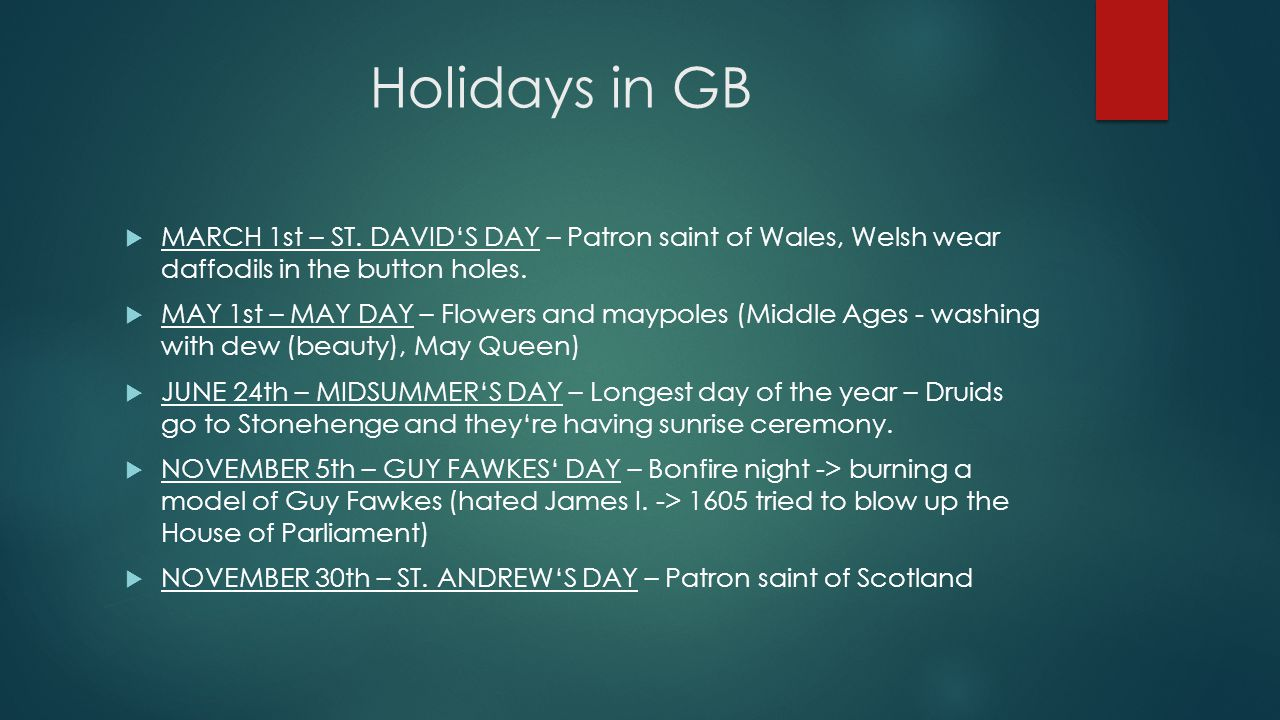 Holidays in GB  MARCH 1st – ST.