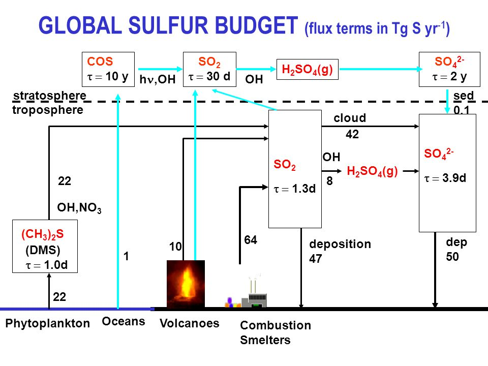 GLOBAL SULFUR BUDGET (flux terms in Tg S yr -1 ) Phytoplankton (CH 3 ) 2 S SO 2  1.3d (DMS)  1.0d OH,NO 3 Volcanoes Combustion Smelters SO 4 2-  3.9d OH cloud deposition 47 dep 50 H 2 SO 4 (g) troposphere stratosphere COS  10 y SO 2  30 d SO 4 2-  2 y Oceans 1 h,OH H 2 SO 4 (g) OH sed 0.1