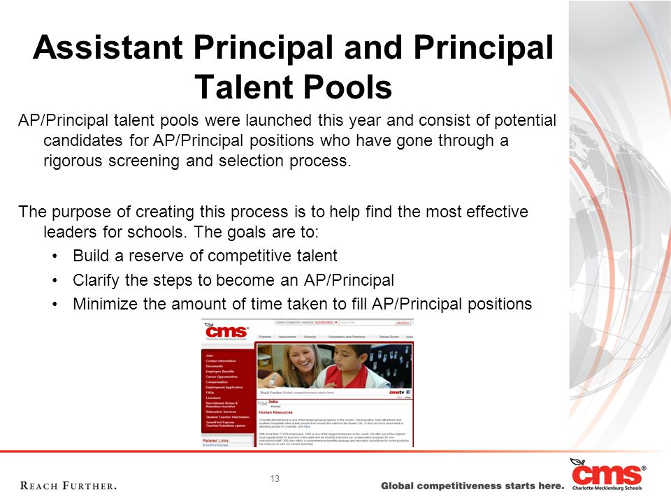 13 Assistant Principal and Principal Talent Pools AP/Principal talent pools were launched this year and consist of potential candidates for AP/Principal positions who have gone through a rigorous screening and selection process.
