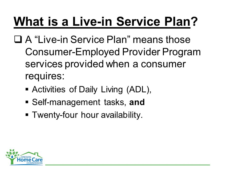 What is a Live-in Service Plan.