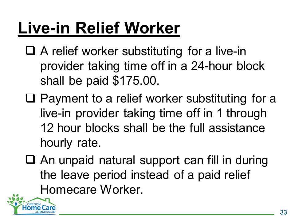 Live-in Relief Worker  A relief worker substituting for a live-in provider taking time off in a 24-hour block shall be paid $