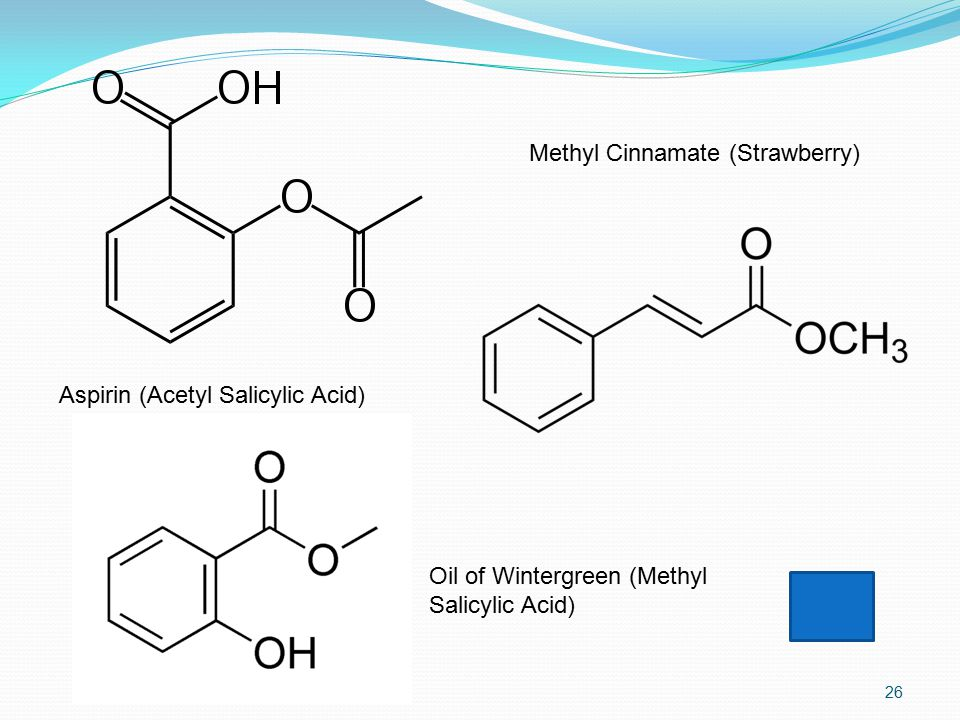 26 Aspirin (Acetyl Salicylic Acid) Methyl Cinnamate (Strawberry) Oil of Wintergreen (Methyl Salicylic Acid)