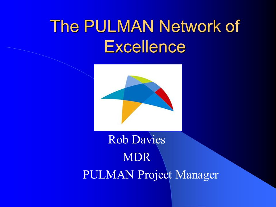 The PULMAN Network of Excellence Rob Davies MDR PULMAN Project Manager